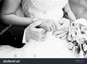Bride And Groom Holding Hands, Black And White Image Stock ...