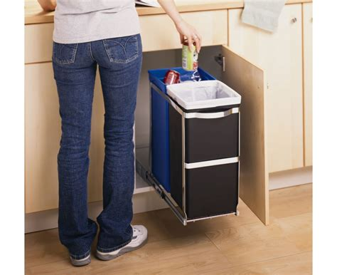 under sink garbage can track simplehuman 35 litre under counter pull out recycler