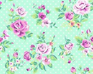 Mint green vintage floral wallpaper on We Heart It
