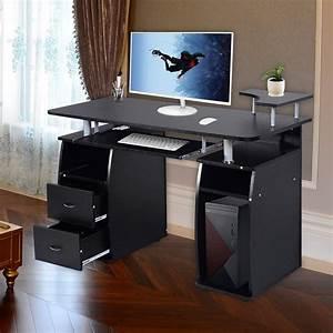 Ktaxon, Black, Home, Office, Computer, Pc, Desk, Table, Work, Station, Office, Home, Raised, Monitor, U0026printer