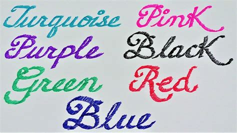 write in color learn colors write names of colors in cursive