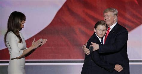 trump barron speech convention melania son hugs donald bizarro child republican national trumps cnn rnc care fired plagiarism episode well