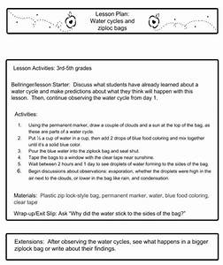 Water Cycles Lesson Plan