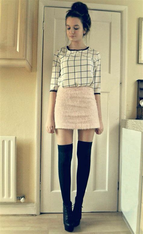 skirt thigh highs wedges threads fashion fashion outfits topshop skirts