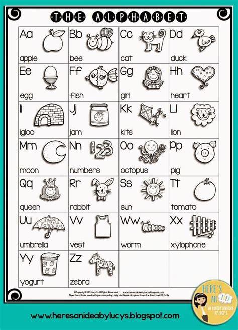 bw english alphabet chart playgroup pinterest