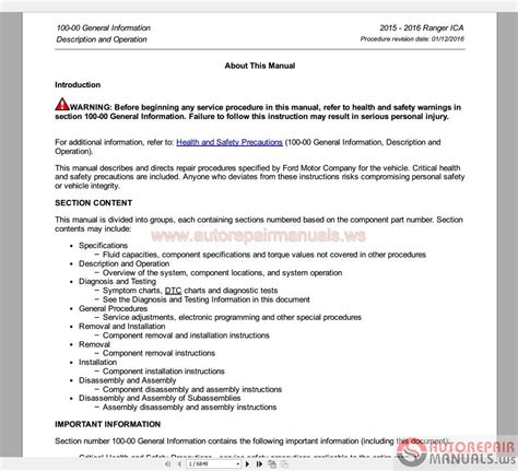 ford ranger   service manual auto repair manual