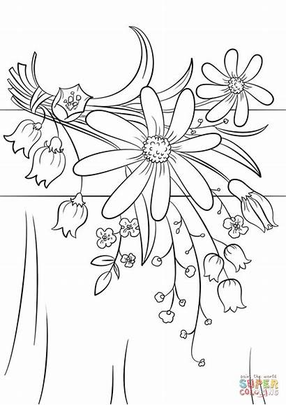 Coloring Flowers Pages Summer Flower Printable Drawing