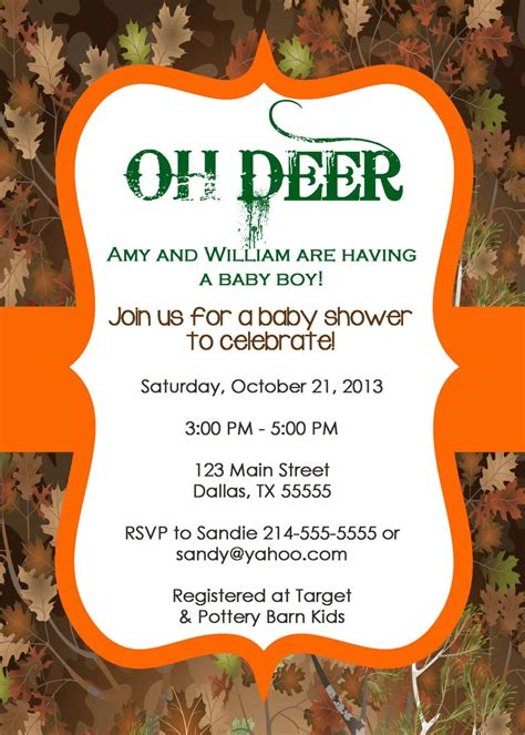deer tree camo baby shower invitation