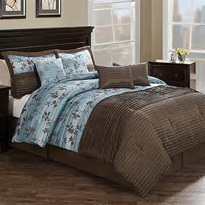 chocolate aqua pleat 8 piece comforter set in brown blue bed bath beyond