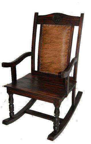 Cowhide Rocking Chair - rustic cowhide rocking chair western real wood cabin