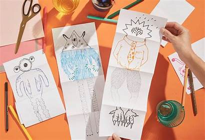 Games Paper Pen Play Drawing Fold Monster