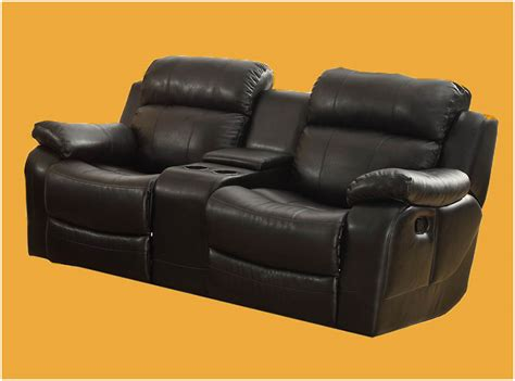 Leather Reclining Loveseat With Center Console by Glider Reclining Loveseat With Center Console In