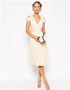 midi wedding dress asos asos wedding drape cold shoulder midi dress at asos
