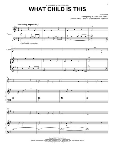 what child is this sheet music the piano guys cello