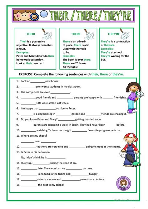 Their, There & They're Worksheet  Free Esl Printable Worksheets Made By Teachers