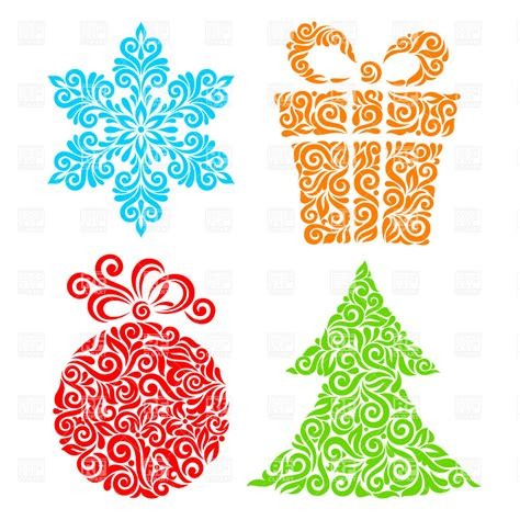 new year symbol ornamental new year symbols snowflake fir and gift box vector image vector artwork of