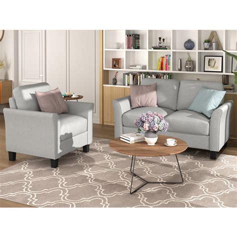 Single cushion seat milton 76'' square arm sofa. Lowestbes Loveseat Sofa and Armrest Single Sofa, Modern Fabric Sofa Set with Sturdy Wooden Legs ...