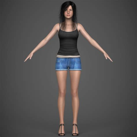 Photo Realistic Young Brunette Teen Girl With Hair Top And Pant 3d Model
