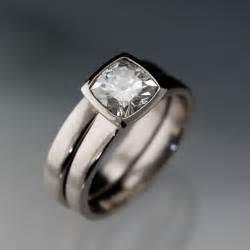 moissanite engagement ring set moissanite bezel set cushion engagement ring by nodeformweddings