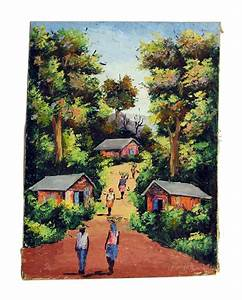 Village Scene Canvas Painting | Olde Good Things