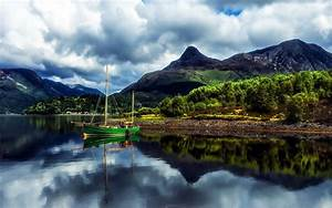 Nature, Landscape, Mountains, Lake, Green, Boat, With, Sails, Cloudy, Sky, With, Dark, Clouds, Scotland