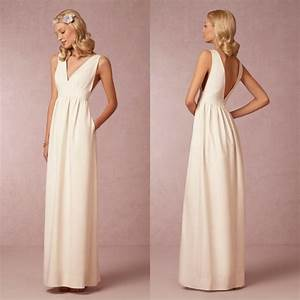 2015 simple bridesmaid dress long prom gown v neck beige With simple beige wedding dresses
