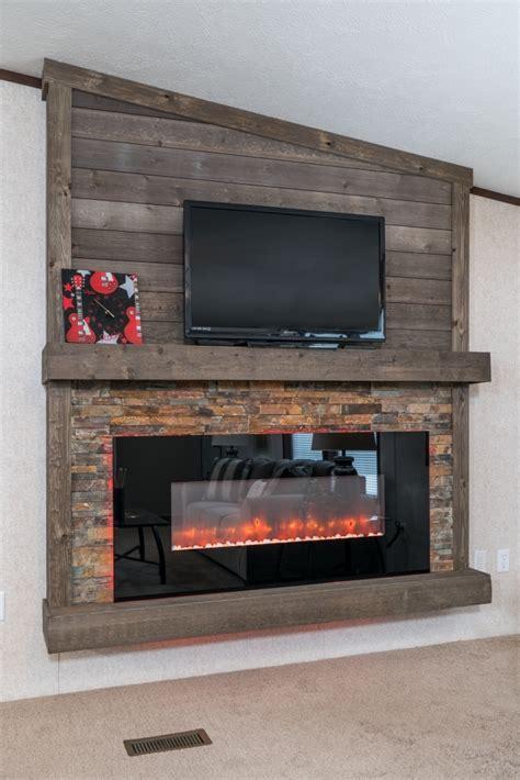 mf  led fireplace  stone surround  plank board