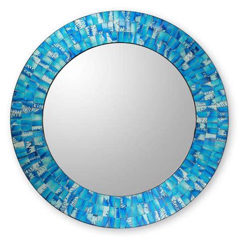 blue glass mosaic tile wall mirror tropical fusion