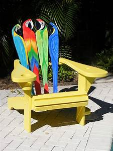 Custom adirondack chair parrot design by island time for Adirondack chairs design