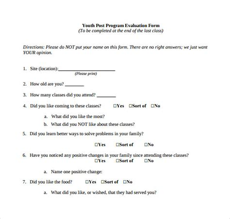 program evaluation forms    sample templates