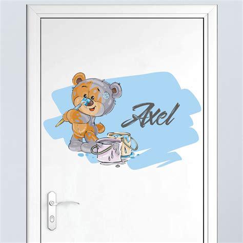 stickers chambre bébé personnalisé sticker prénom personnalisé ourson en peluche stickers