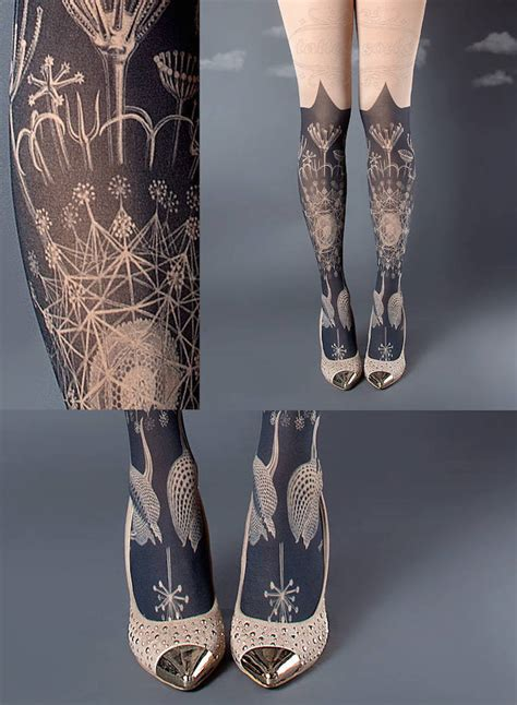 artistically patterned tights   real leg sleeve