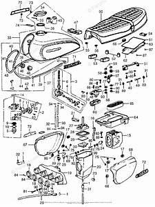 Honda Motorcycle 1976 Oem Parts Diagram For Fuel Tank   Air Cleaner