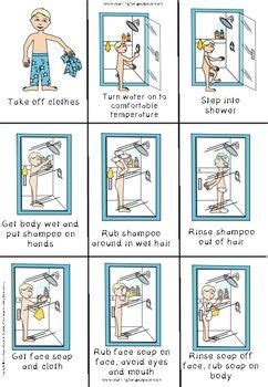 shower visual sequencing cards  learning