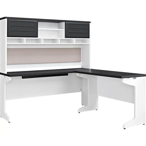 gray desk with hutch bowery hill l shaped desk with hutch in white and gray