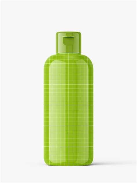 Change the color of the bottle and the cap if you're up to it. Glossy bottle mockup with flip top mockup - Smarty Mockups