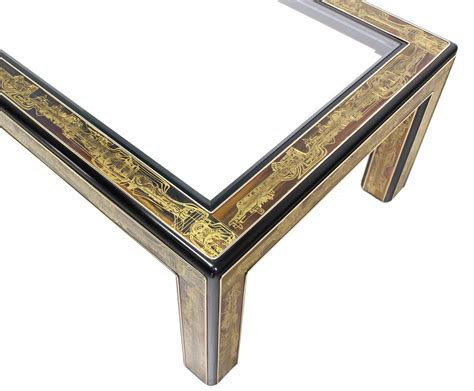› glass top coffee tables with metal base. Rectangular Glass-Top Brass and Wood Base Coffee Table by Mastercraft at 1stdibs