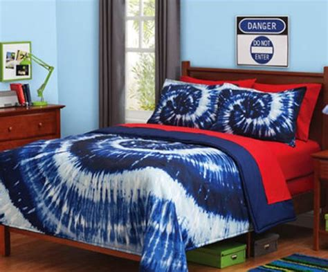 blue white tie dye reversible twin comforter set 2