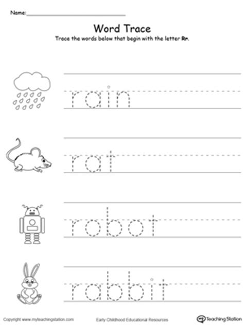 trace words that begin with letter sound r 146 | Tracing Words That Begin With Letter Sound R