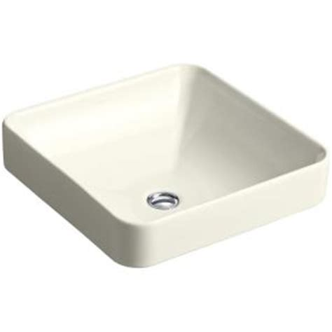 kohler vox square vitreous china vessel sink in biscuit