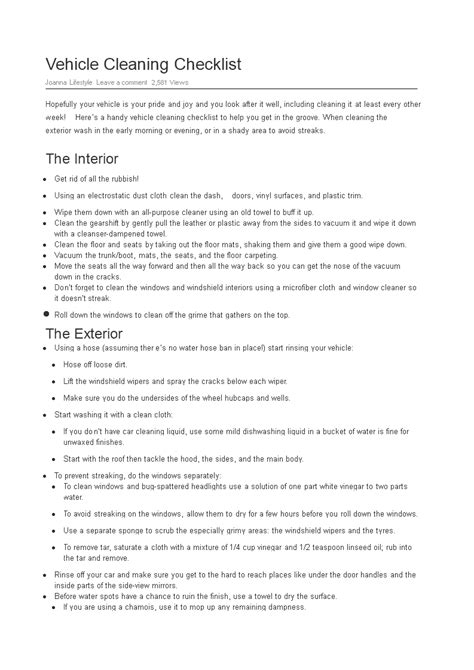 vehicle cleaning checklist word templates