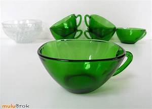 Vaisselle En Verre : vaisselle vintage tasses vereco mulubrok brocante en ligne ~ Teatrodelosmanantiales.com Idées de Décoration