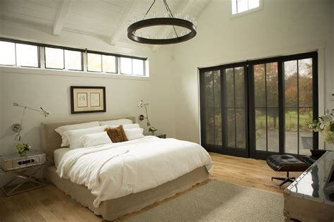 bed  clerestory windows transitional bedroom
