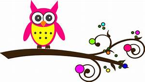 Pink Owl Colorful Branch Clip Art at Clker.com - vector ...