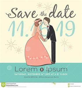 Cute Groom And Bride Cartoon Wedding Invitation Card Stock ...