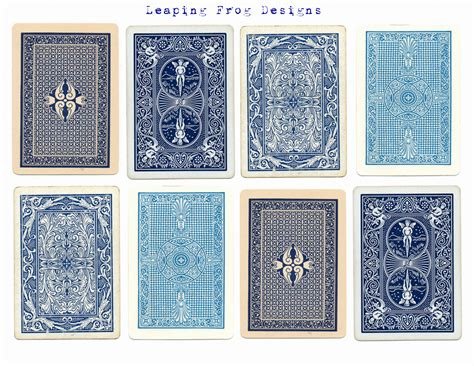 leaping frog designs vintage blue playing cards collage