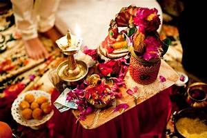 Vibrant and ornate ceremony table during pre-wedding Hindu ...