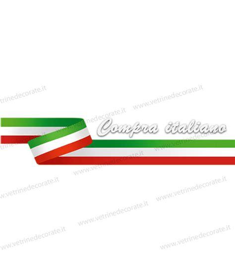 cornice tricolore scritta compra italiano su nastro tricolore