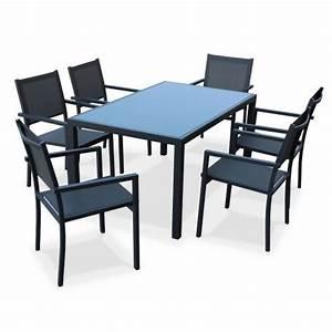 Salon De Jardin Gris Anthracite : salon de jardin aluminium capua table 150cm 6 fauteuils en textil ne gris et alu anthracite ~ Melissatoandfro.com Idées de Décoration