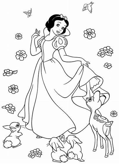 Coloring Pages Snow Disney Princess Elsa Dwarfs